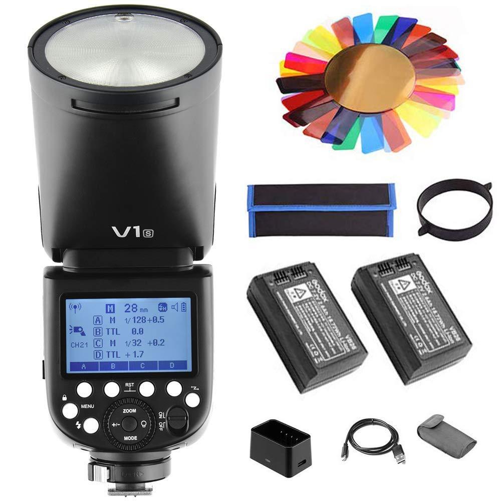 【Godox正規代理&技適マーク】Godox V1-S フラッシュストロボ バッテリー2個セット 76Ws 2.4G TTLラウンドヘッドフラッシュスピードライト 1/8000 HSS 480フルパワーショット10レベルLEDモデリングランプ Sonyカメラ対応   B07SNPZNPH