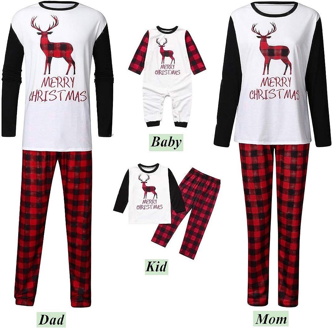 Xmas Holiday Pjs Set,Moose Elk Pattern Soft Cotton Family Pajamas Kehen Family Christmas Pajamas Set