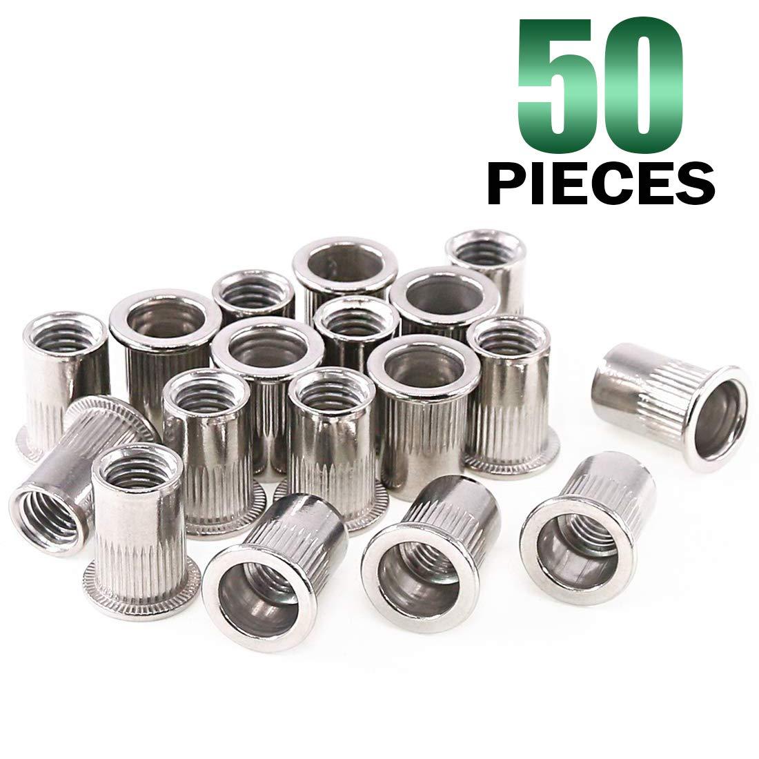 Keadic 50Pcs M10 Stainless Steel Metric Rivet Nut Flat Head Threaded Insert Nutsert Kit - M10 by Keadic