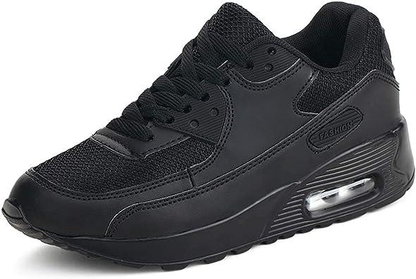 Mujer Zapatillas de Deporte con Amortiguación de Aire Zapatos con Cordones Transpirables para Caminar Correr Negro EU 35: Amazon.es: Zapatos y complementos