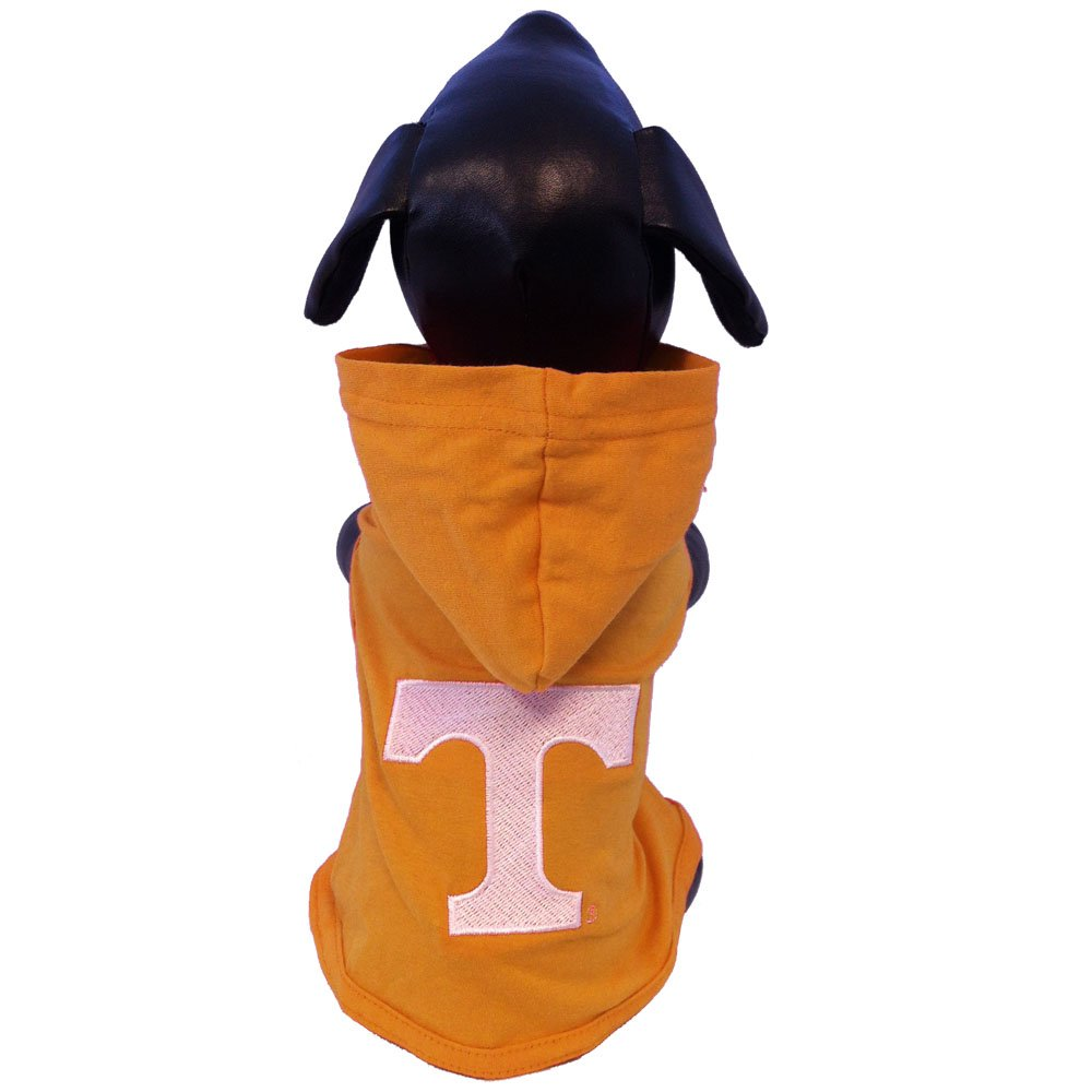 All Star Dogs NCAA Tennessee Volunteers Cotton Lycra Hooded Dog Shirt, Small Orange/White