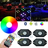 Wiipro RGB LED Rock Lights Kit Cell Phone Bluetooth Control with 4 pods Timing & Music Mode & Flashing & Color Changing Neon Lighting Bar under Auto Car Off Road Truck Pickup ATV SUV JEEP Yacht Boat