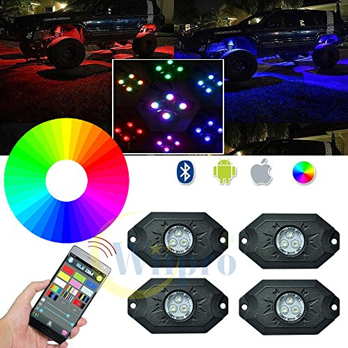 Wiipro RGB LED Rock Lights Kit 4 Pods Multicolor Neon Lighting with Cellphone APP Bluetooth Control u0026 Timing u0026 Flashing u0026 Music Mode for JEEP Off Road Truck ...  sc 1 st  Amazon.com & Off Road Rock Lights: Amazon.com