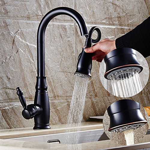 AWXJX American Retro Style Copper Kitchen Black Pull Out Hot And Cold Rotate Sink Vessel Faucetmixer Taps