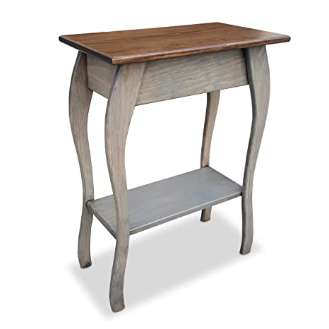 Slim Wooden End Table Amish Furniture Thin Narrow Side Tables For Living Room Hallway Or Nightstand Pewter