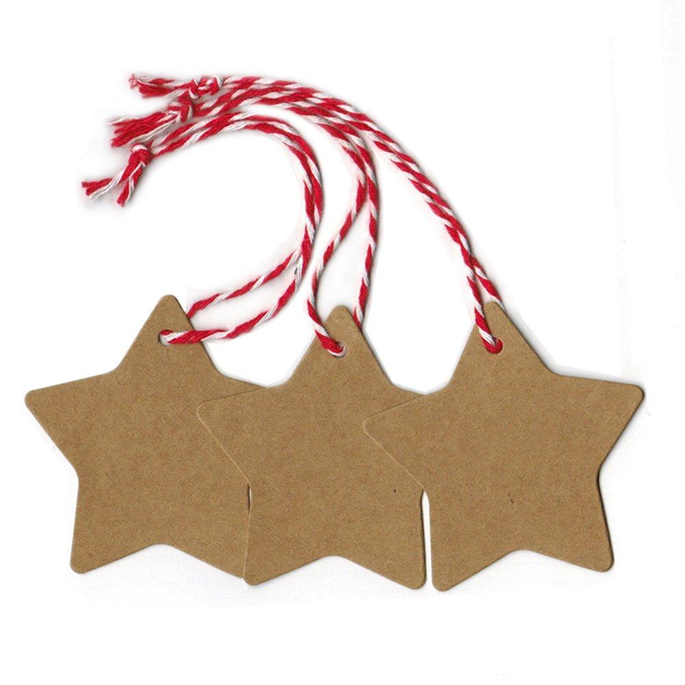 Doutop etichette regalo per Natale 100pcs a forma di stella da appendere Paper Craft TAGS con 20 m corda marrone DT-GT-1404