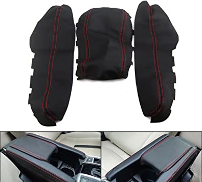 Fit for Honda Civic 2016 2017 2018 2019 2020 Leather Center Console Lid Armrest Cover Protector Decoration Black