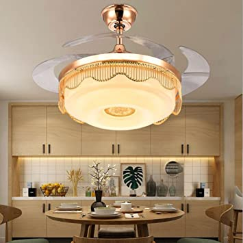 TiptonLight Creative LED Ceiling Lighting With Fan Remote Control Automatic Retractable Invisible Acrylic Blades Modern