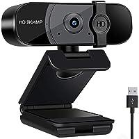 2K webbkamera med mikrofon, HD-webbkamera för PC med privat lucka, Plug and Play USB-webbkamera för Youtube, videosamtal…