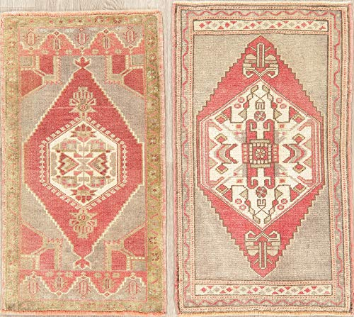 Package of 2 Oushak Turkish Oriental Area Rug Ruby Red Hand-Knotted Wool 2' X 3'