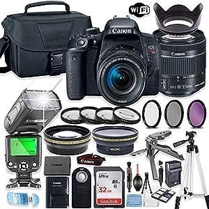Best Epic Trends 61aBDz%2BYLbL._SS300_ Canon EOS Rebel T7i DSLR Camera Bundle with Canon EF-S 18-55mm STM Lens + 32GB Sandisk Memory + Camera Case + TTL…