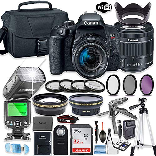 Canon EOS Rebel T7i DSLR Camera Bundle with Canon EF-S 18-55mm STM Lens + 32GB Sandisk Memory + Camera Case + TTL Speedlight Flash (Good Upto 180 Feet) + Accessory Bundle