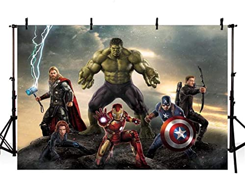 7x5ft MarvelAvengers Birthday Background for Photography Grey Clouds Dark Stone with Heros Birthday Backdrop Decorations for Boys Personalized Name