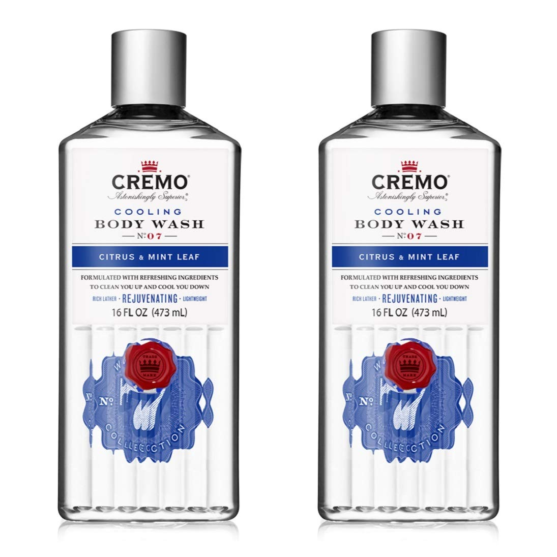 Cremo Cooling Citrus & Mint Leaf Body Wash, A Refreshing Scent with Notes of Fresh Mint, Citron, Cedar and Moss, 16 Oz (2-Pack)