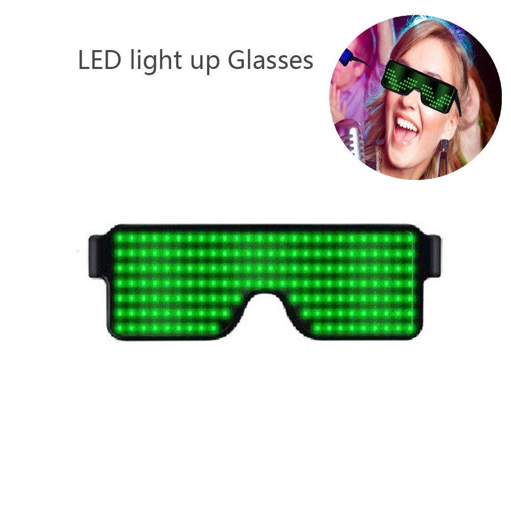 KOBWA Light Up Eyeglasses Flashing Shutter Neon Glowing Glasses Multicolor LED Luminous Glasses with 8 Modes for Party Christmas Birthday Blue