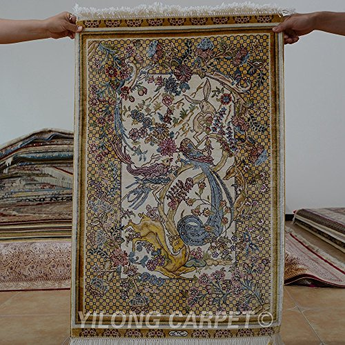 Yilong 2'x3' Handmade Silk Rug Oriental Persian Tapestry Animals Hand Knotted Home Wall Hanging Carpet (2 Feet by 3 Feet, Yellow) 0448 - Persian Silk Tapestry