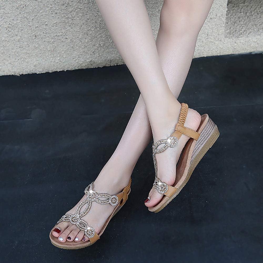 Meeshine Womens Wedge Sandal Platform Rhinestone Dress Sandals Bohemia Shoes