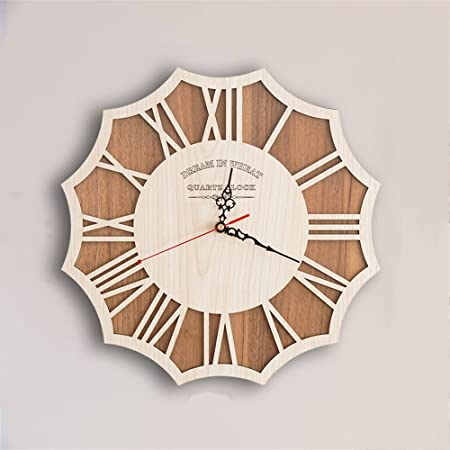 AIZIJI Wall Clock Innovative And Stylish Wooden Wall Clock Retro Minimalist  Wall Clock ,40cm