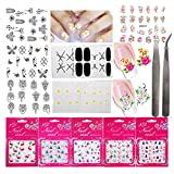 14 Sheets 3D Nail Stickers Art Decal Gel Nail Vinyl Polish Strips Wraps Adhesive Water Transfer Flowers Nail Sticker DIY Decoration Tips For Women Girls Teens (SET17A)