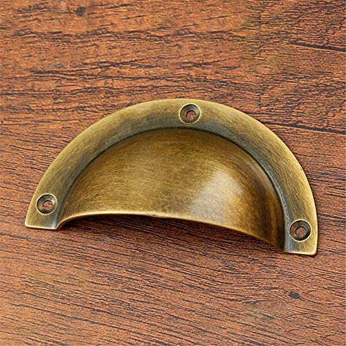 Dresser Drawer Handles Polished Brass/Antique Bronze Solid Brass Shell Shape Cup Pull, Vintage Handles For Filing Cabinet File Cabinets Drawer Home Decor, Pack Of 6pcs for Home Kitchen Wardrobe Cupboa