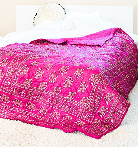 Ankit Indian Elephant Pink Gold 80 X 50 Inches Quilt Handmade  Designer  100  Cotton  Exotic Colors