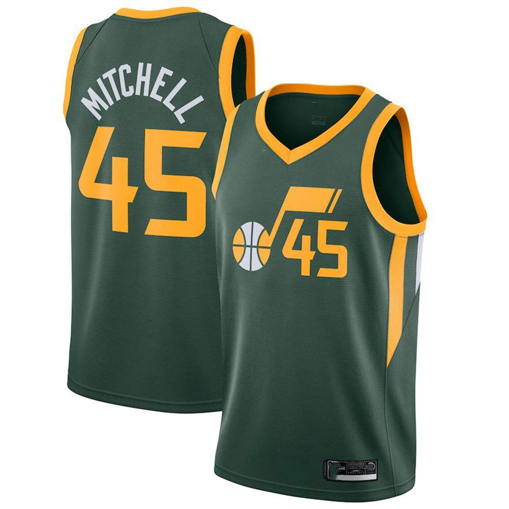 Vintage Cool Breathable Fabric All-Star Unisex Fan Uniform,A,S Utah Jazz 170CM//50~65Kg TGSCX Donovan Mitchell # 45 Herren-Basketballtrikot