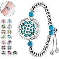 Aromatherapy Essential Oil Diffuser Bracelet - ttstar Women and Girl 20mm Stainless Steel Rose Locket Adjustable…