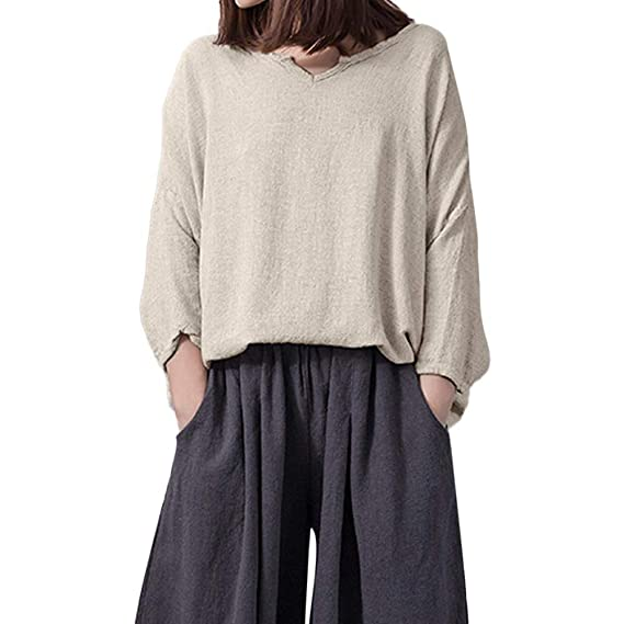 Camisa Mujer, LANSKIRT Vendimia Mujeres Suelto Cuello en V Lino de algodón Casual Color sólido Tops Camisa Blusa: Amazon.es: Ropa y accesorios