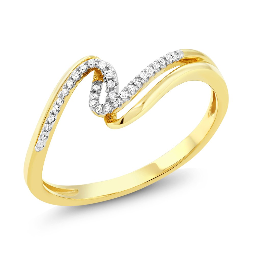 10K Solid Yellow Gold White Diamond Bypass Anniversary Wedding Band 0.045 cttw, I-J Color, I1-I2 Clarity (Size 7)