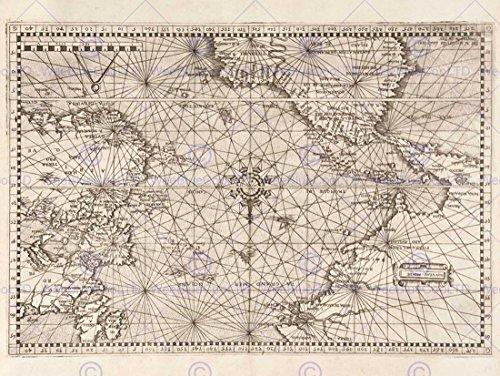 MAP ATLANTIC CLASSICAL NAUTICAL ART NAVIGUER OCEAN ART PRINT POSTER BB8224