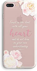 iPhone 7 Plus Case,iPhone 8 Plus Case,Girls Floral Flowers Bible Verses Inspirational Pink Proverbs 3:5 Trust Lord with All Heart Vintage Rose Soft Clear Case Compatible for iPhone 7plus/8plus