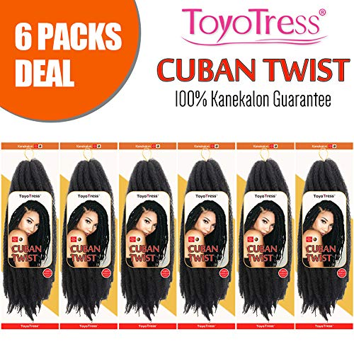 ToyoTress 6Packs 16 Inch Omber Cuban Twist Marley Hair Cuban Twist Braiding Hair 100% Kanekalon Synthetic Marley Hari For Twists Crochet Braiding Hair (6Packs, 1b)