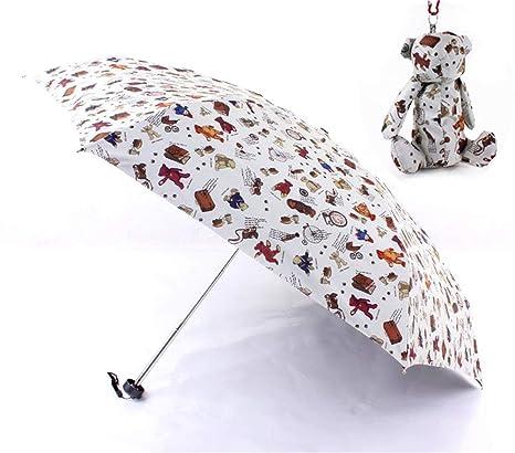 Sombrilla para niños Dibujos Animados Impresos Peso Ligero Paraguas Plegables quíntuples Al Aire Libre Pegamento Negro