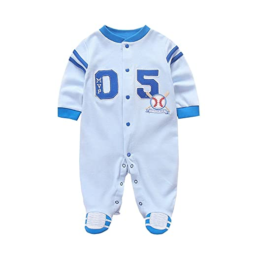c9dfba631 Amazon.com: AIKSSOO Infant Baby Boys Outfit Long Sleeve Footies Stripe  Jersey Sleep Play: Clothing