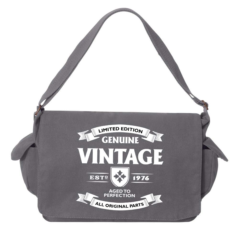 1976 Grey Brushed Canvas Messenger Bag Tenacitee Aged to Perfection