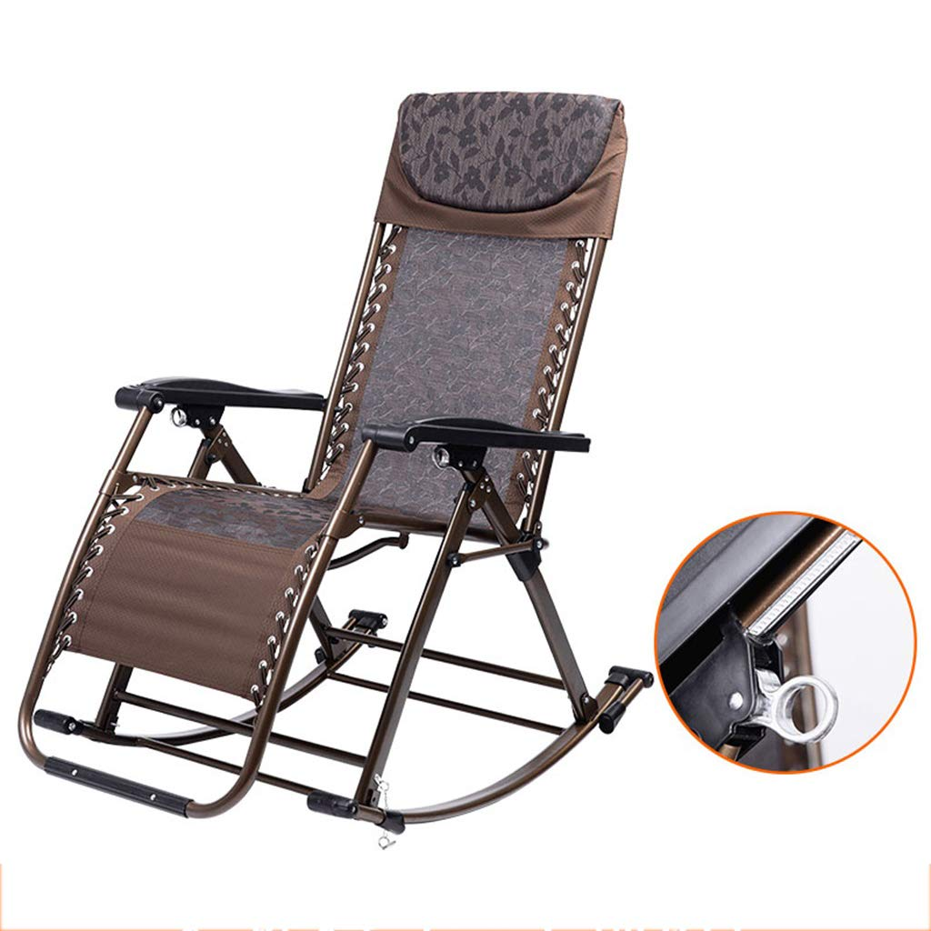 Folding Rocking Relaxing Lounge Chair with Large Adjustable Backrest,Comfortable Recliner-One Button Folding and Lock,Suitable for Balcony Courtyard Office by WY rocking chair