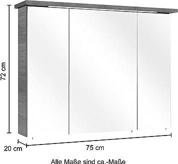 LED Spektrum A - A Breite 75 cm Graphit Struktur EEK: A Spiegelschrank Alika//CESA II PELIPAL