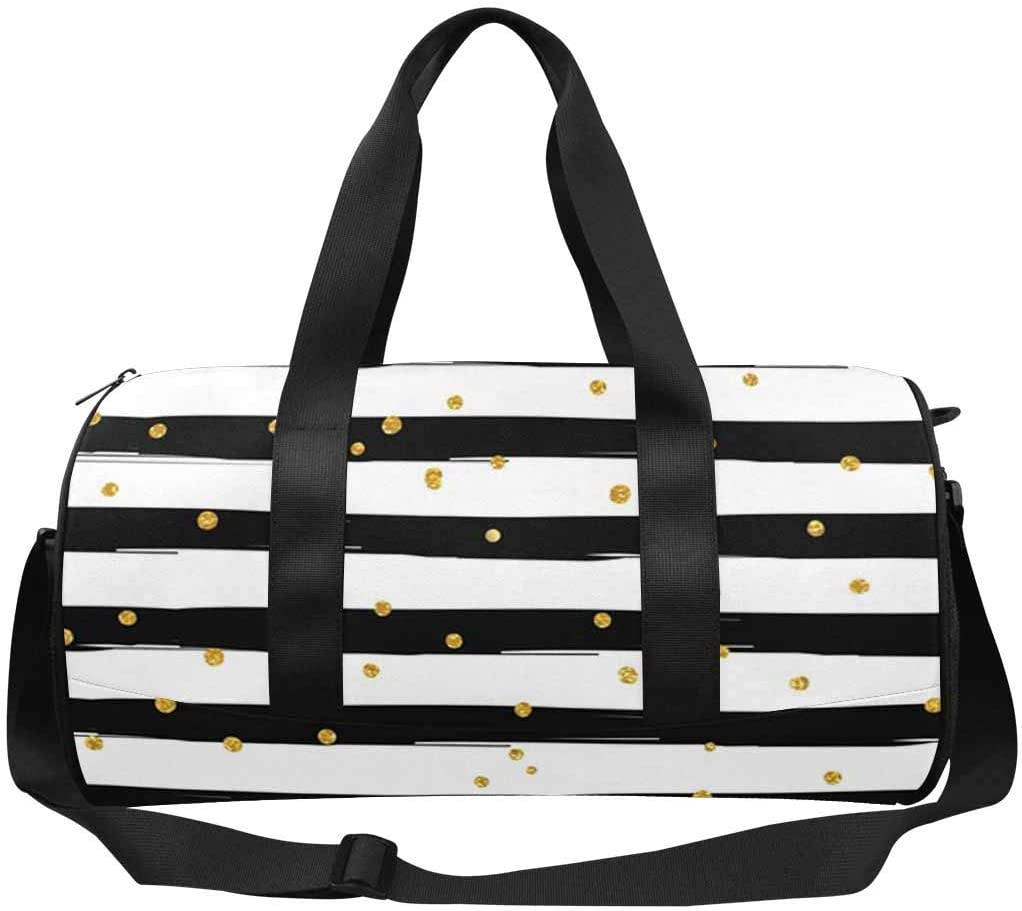 INTERESTPRINT Gold Glittering with Lines Adults Travel Tote Duffel Bag Carry on