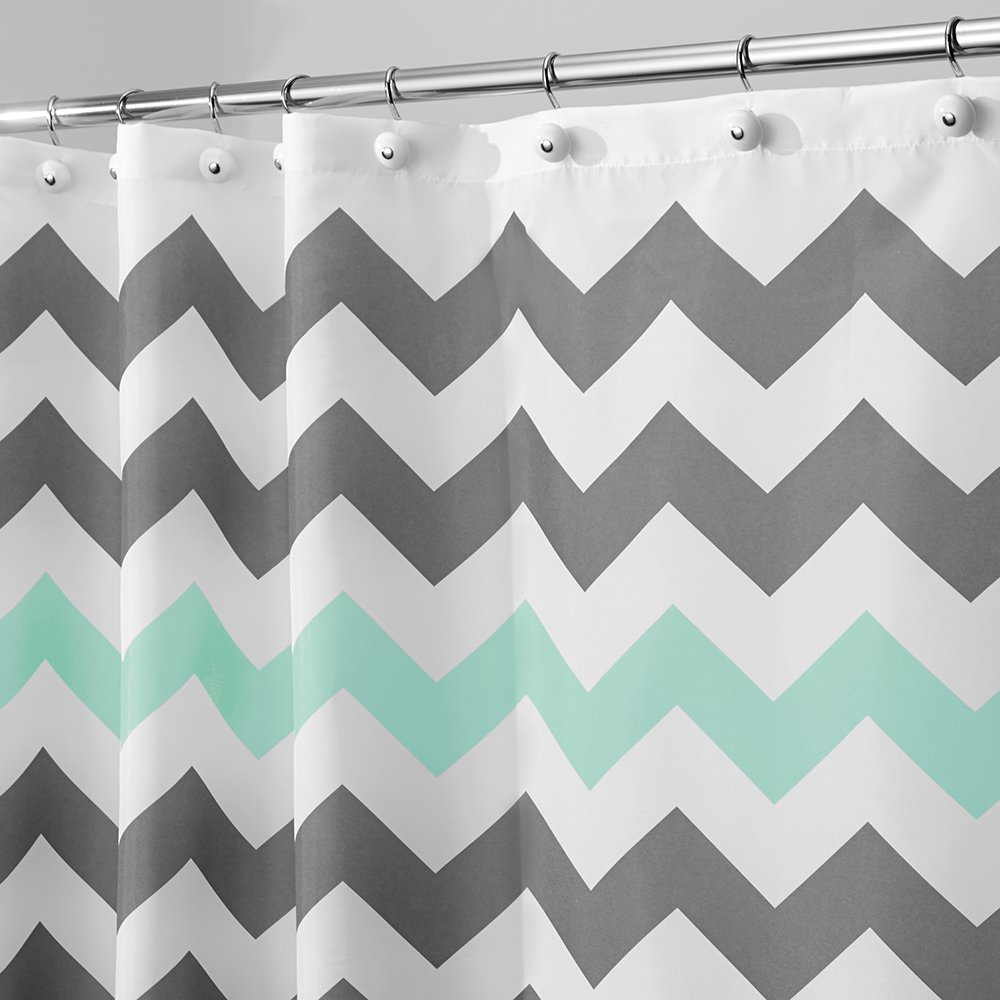 Amazon.com: InterDesign Chevron Shower Curtain, 54 x 78, Gray/Aruba ...
