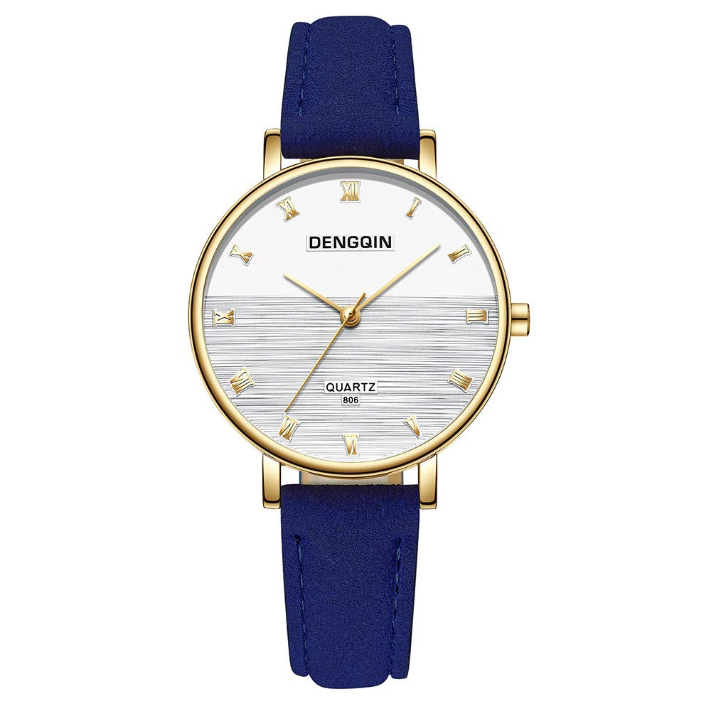 Watches for Women on Sale Clearance,Top Brand Watches Leather Casual Wrist Watch(Blue) by Woaills Watch