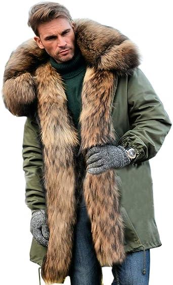 TALLA S. Aofur Abrigo de piel sintética para hombre, para invierno, con capucha, estilo casual, parka