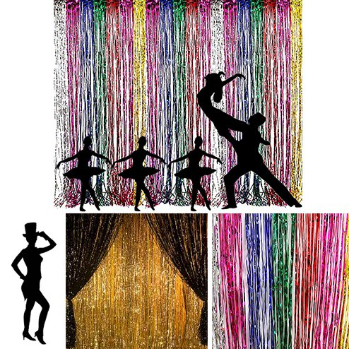 Fringe Decoration (Adorox Metallic Silver Gold Rainbow Foil Fringe Curtains Party Wedding Event Decoration (Metallic Rainbow))