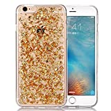 iPhone 6 Case,Crosstree iPhone 6S Case, Luxury Soft Bling Glitter Sparkle Hybrid Bumper Case with Liquid Infused with Glitter and Stars For Iphone 6/6S 4.7inch (iPhone 6/6S, Gold)