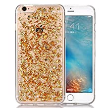 iPhone 6 plus Case,Crosstree iPhone 6S plus Case 5.5inch, Luxury Soft Bling Glitter Sparkle Hybrid Bumper Case with Liquid Infused with Glitter and Stars (iPhone 6/6S Plus, Gold)