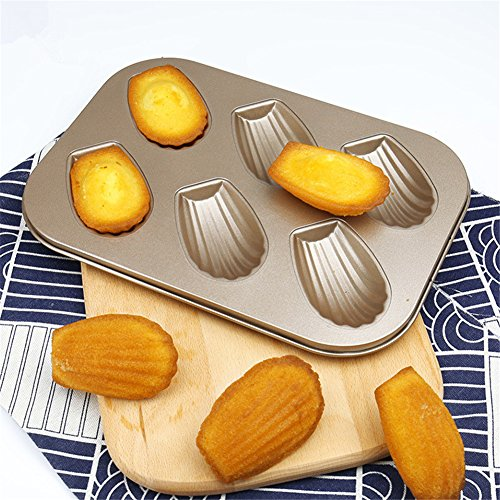 1PCS Non-stick Carbon Steel Madeleine Pan Kitchen Mold Shaped Shell Cake Baking Pan Bakeware,6-Cup by Hoxekle