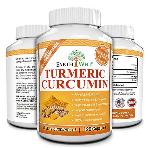 Curcuma curcumine extrait pur normalisé à 95% Curcuminoïdes, Hygiène Anti-inflammatoire Supplément, 650mg, 120 capsules, Made in USA