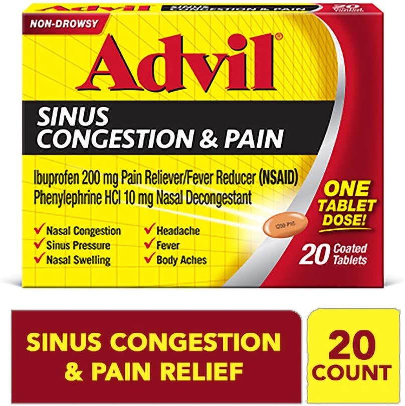 Advil Sinus Congestion And Pain Relief, 200mg Ibuprofen, Pain and Fever Reducer, (20 count), Nasal Decongestant, Fast Relief For Nasal Congestion And Swelling, Sinus Pressure, Headache, And Fever