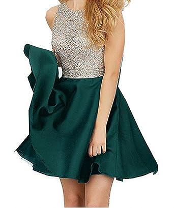 TANGFUTI Homecoming Dresses Short Beading Satin Prom Dresses Open Back 107 at Amazon Womens Clothing store: