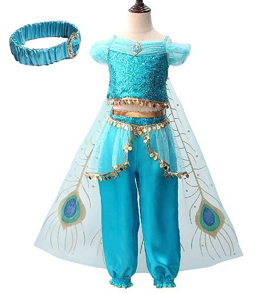 YOSICIL Niña Aladdin Princesa Jasmine Disfraz Tops Pantalones y ...