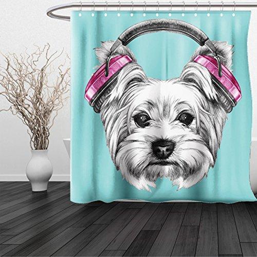 Kansas Jayhawks Stained Glass (HAIXIA Shower Curtain Yorkie Dog with Headphones Music Listening Yorkshire Terrier Hand Drawn Caricature Light Blue White)